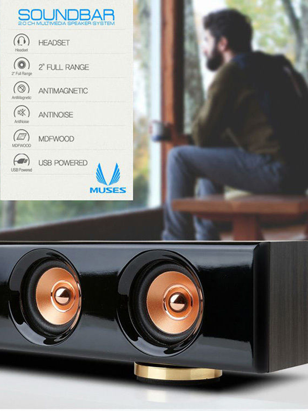 Midas S3 Soundbar Speaker Slim PC Laptop Computer LCD LED Monitor USBpower Black